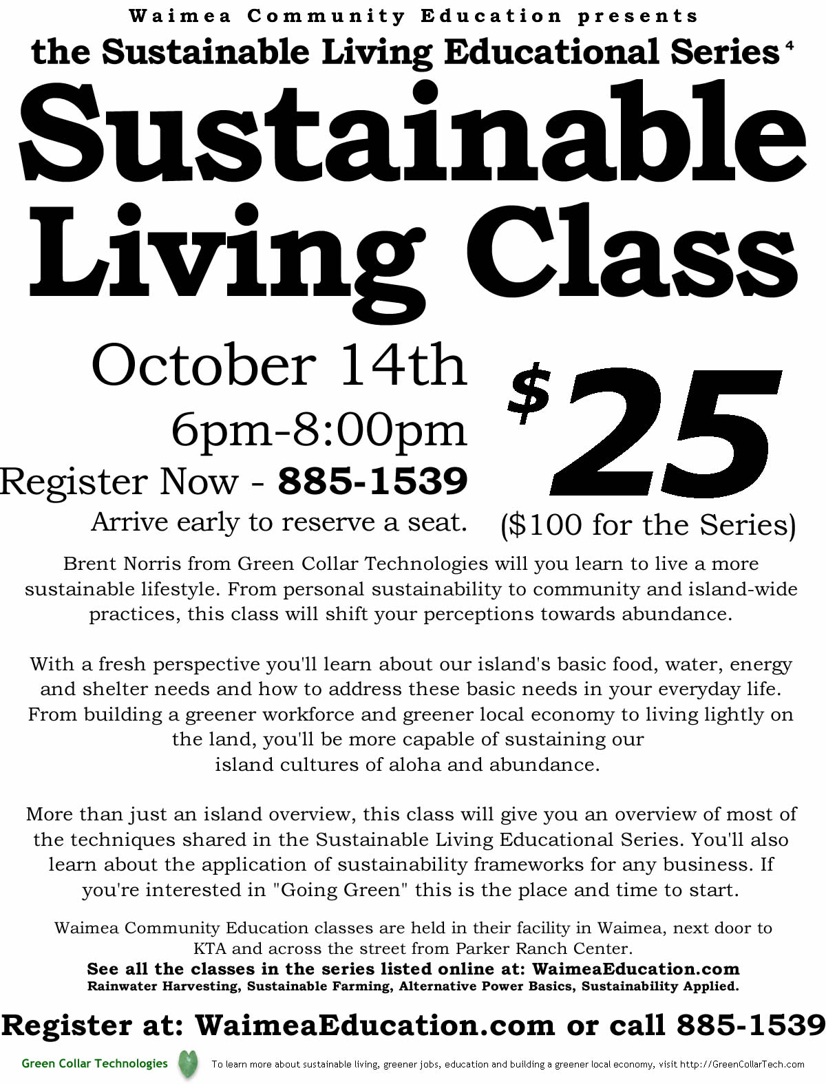 sustainable living educational series waimea wec green collar sustainability applied